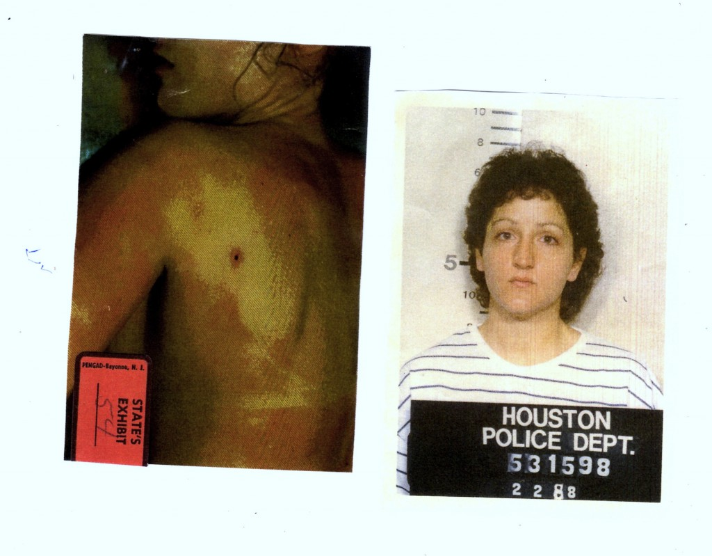 (L) bullet wound to victim's back. (R) Houston Police Department mug shot of accused killer Christine Larson.