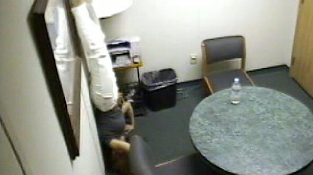 Jodi Arias doing a headstand in the police interview room.