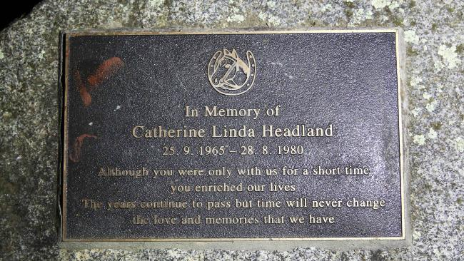 The memorial plaque to Catherine Headland at Akoonah Park, Berwick, Victoria.
